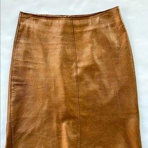 BEBE Metallic Bronze Leather Pencil Skirt